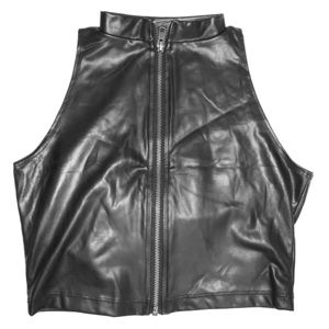 Black Leather zipper crop top size small